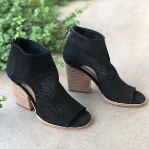 Vince Camuto Black Suede Stack Heel Ankle Boots